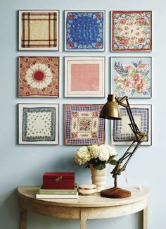 Another inexpensive, fun and easy idea for art. Frame a collection of vintage handkerchiefs (or tablecloth swatches). If you didn't inherit linens, not to worry, you can pick them up at flea markets or on ebay. Would be cute in a child's room, a beach house, a summer cottage or a country home... Use your imagination! decor, wall art, quilt, frames, framed fabric, display, scarves, hous, vintage handkerchiefs