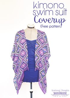 Sew a Kimono Swim Suit Cover up with this free pdf sewing pattern!