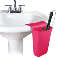 Hot Iron Holster, Silicone Hair Dryer Holder, Hair Appliance Holder   Solutions. This sight has tons of storage solutions.