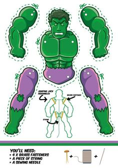 The Incredible Hulk as a Jumping Jack. Dowload template free. Another cool superhero puppet.--inspiration