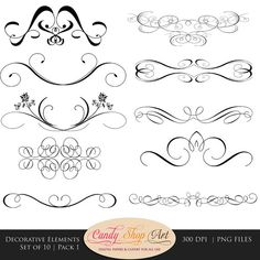 Decorative Swashes, Swirls, Calligraphy Swashes, Clip Art, Digital Clip Art, CU, Wedding Clip Art, Decorative, Divider Clip Art on Etsy, $4.25