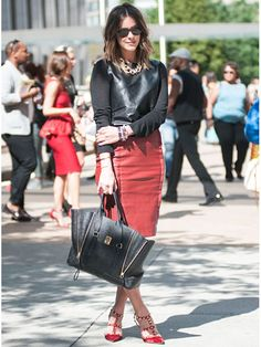 Red & Leather  Street Style at Spring 2014 Fashion Week - NYFW Street Style Pictures - Marie Claire