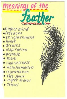 Meanings of the feather    @Natalie Jost McCall I decided on this