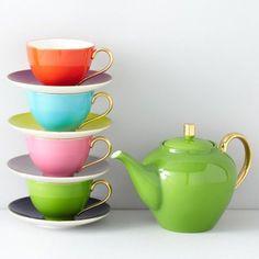 tea sets, teapots, greenwich grove, cups, colors, teas, grove tea, kitchen, kate spade