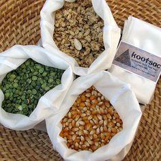 Eco bags -bulk bin food market, biodegradable natural silk - set of three MEDIUM