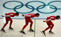 On the ice: three Polish speed skaters practise for next week's Winter Olympics at the Richmond Olympic Oval in British Columbia.