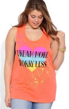 Deb Shops Plus Size Dream More Worry Less Print Tank Top with Double Twist Back $12.50