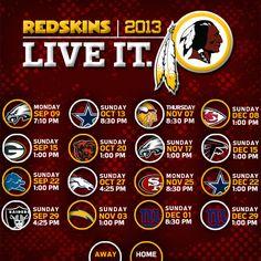 Redskins 2013 Season Schedule