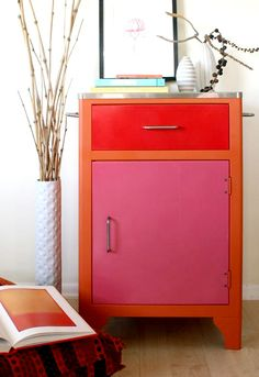 painted color-block cabinet