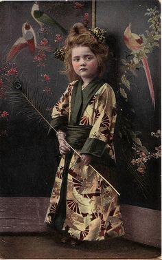 Young girl in a kimono, circa 1910.