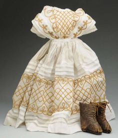 1860s doll dress with soutache trim