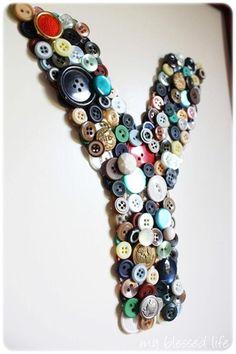 idea, button monogram, dorm room, crafti craftsdiy, letter, button crafts, diy button, buttons, monograms