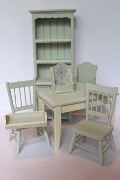 dollhouse light blue kitchen chairs by Londondollshouses on Etsy, £11.00