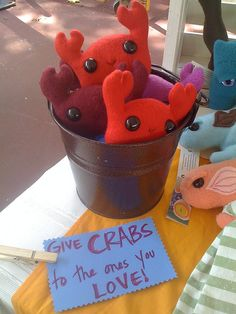 cute display for crabs - funny sign too!