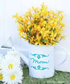 "DIY Watering Can Vase for MOM this Mother's Day ... ""grandma"" version, too..."