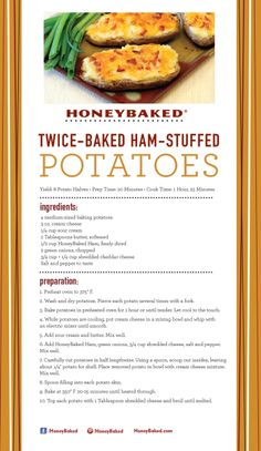 HoneyBaked Twice-Baked Ham-Stuffed Potatoes #HoneyBaked #Ham # Recipe www.HoneyBaked.com
