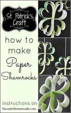 at home, paper shamrock, irish crafts, st patricks day, papers, march crafts, patti craft, stpatrick, kid