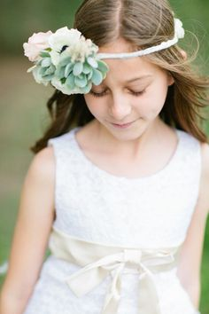 Such a sweet flower girl flower crown: http://www.stylemepretty.com/2014/11/03/romantic-forest-wedding-in-temecula/ | Photography: Sposto Photography - http://www.spostophotography.com/