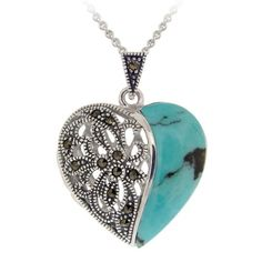 Amazon.com: Stonique Creations Silver Turquoise and Marcasite Heart Locket Necklace: Jewelry