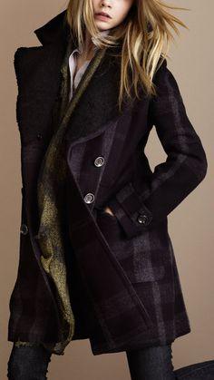 Black plaid pea coat.
