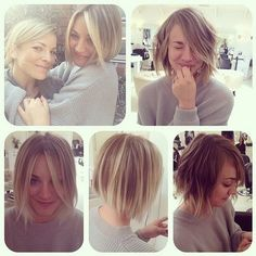 kaley cuoco bob haircut   Kaley Cuoco reveals Jennifer Lawrence style short hair cut - Beauty ...