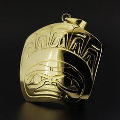 Ernest Swanson, 14k Yellow Gold Pendant, Raven's Tale, Northwest Coast Haida Art