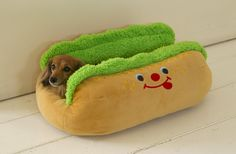 wiener dog in a bun bed! That is one HOT DOG!  COPPER SO NEED THIS =)
