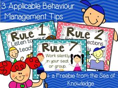 Behaviour Management tips + Rule posters freebie from the Sea of Knowledge! :)