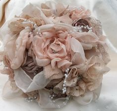 Vintage Inspired Shabby Chic Fabric Wedding Bouquet/Alternative Bouquet/ Bridal Bouquet with Pearls and Crystals,and Rhinestones. $175.00, via Etsy.