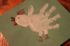 craft art, art crafts, handprint farm animals, handprints for infants, chicken handprint