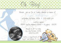 Winnie the Pooh Baby Shower invitations using sonogram