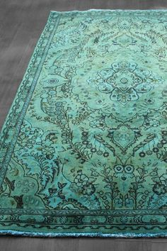 Over-Dyed Persian Tabriz Design Wool Rug - Teal Blue Green - 4ft. 9in. x 7ft. 8in.