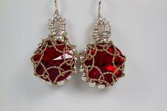 red crystal, crystal earrings