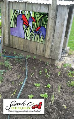 Outdoor art: Vege Garden with Pukeko of Whimsey corrugated iron artwork behind. Available to buy at http://www.sarahcdesign.co.nz/corrugated-iron.html priced at $460