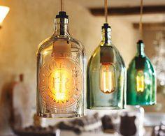 Cool lights Bottles Lights, Vintage Bottles, Lights Fixtures, Liquor Bottles, Bottles Lamps, Napa Style, Wine Bottles, Pendants Lights, Old Bottles