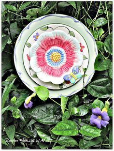 Butterfly Plate Flower Garden Stake  As by GardenWhimsiesByMary, $40.00