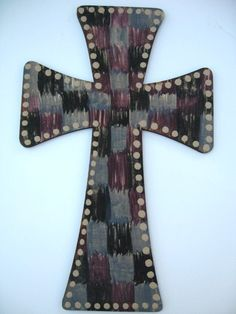 Hand Painted Wooden Cross  Christian Art