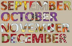 Free Cross Stitch Patterns - Months of the Year
