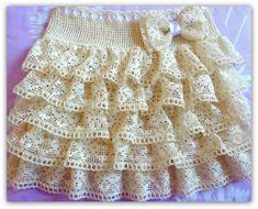 Como fazer saia infantil com renda de algodão e crochê