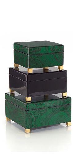 Malachite Dressing Table Boxes