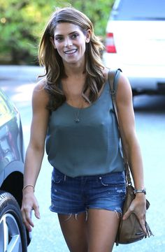 Ashley Greene street style sexy in a flimsy top and under garment.