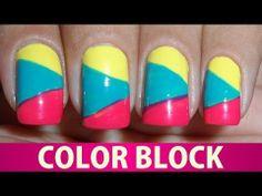 Unhas Decoradas - Color Block - YouTube