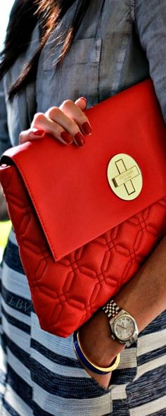 Bright red kate spade new york quilted bag | LBV ♥✤