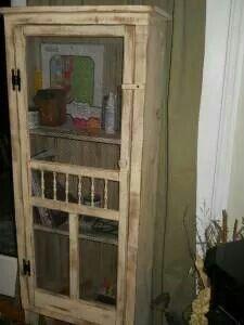Cabinet with old screen door