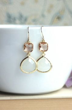 Champagne Peach Gold with White Opal Glass Framed Drop French Earrings. Peach Wedding.
