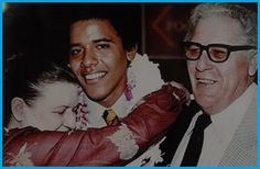 What is that strange white thing on Obama's neck? And why is Grandpa's suit half grey checked and the other half solid black? And why is every photo of Obama with his grandparents photoshopped?