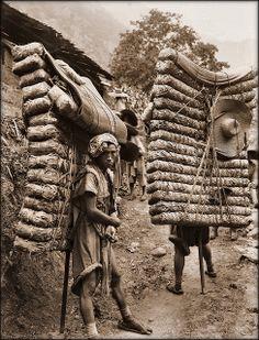 Men Laden With Tea, Sichuan Sheng, China [1908] Ernest H. Wilson [RESTORED]