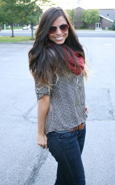 jeans, belt, my black and grey patterned top, burgundy scarf