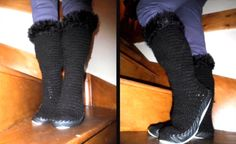 How to crochet knee high boots/mutluks slippers video