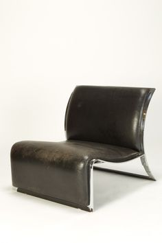 VITTORIO INTROINI, LEATHER AND CHROMED METAL LOUNGE CHAIR 1965